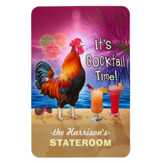 Tropical Rooster Cocktail Funny Cruise Stateroom L Magnet