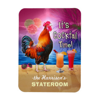 Tropical Rooster Cocktails Funny Cruise Stateroom Rectangular Photo Magnet