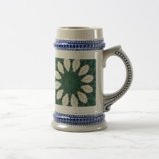 Tropical Sacramento Green and Silver Leaf Mandala. Beer Stein