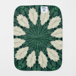 Tropical Sacramento Green and Silver Leaf Mandala. Burp Cloth