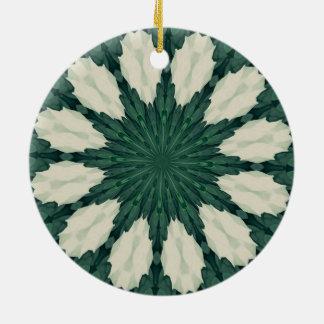 Tropical Sacramento Green and Silver Leaf Mandala. Ceramic Ornament