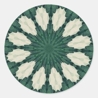 Tropical Sacramento Green and Silver Leaf Mandala. Classic Round Sticker