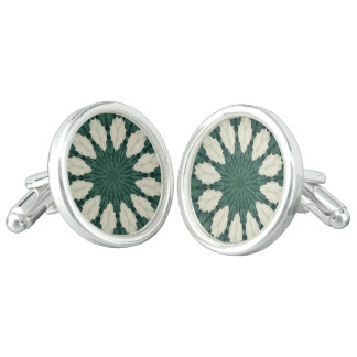 Tropical Sacramento Green and Silver Leaf Mandala. Cufflinks