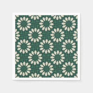 Tropical Sacramento Green and Silver Leaf Mandala. Disposable Serviette