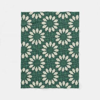 Tropical Sacramento Green and Silver Leaf Mandala. Fleece Blanket