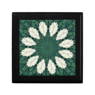 Tropical Sacramento Green and Silver Leaf Mandala. Gift Box