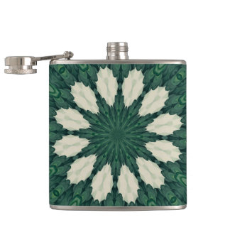 Tropical Sacramento Green and Silver Leaf Mandala. Hip Flask