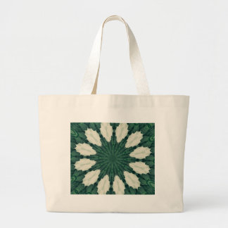 Tropical Sacramento Green and Silver Leaf Mandala. Large Tote Bag