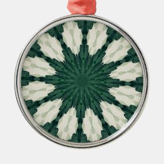 Tropical Sacramento Green and Silver Leaf Mandala. Metal Ornament