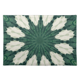 Tropical Sacramento Green and Silver Leaf Mandala. Placemat