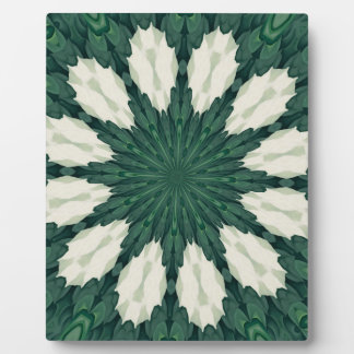 Tropical Sacramento Green and Silver Leaf Mandala. Plaque