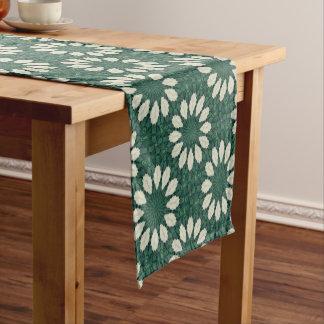 Tropical Sacramento Green and Silver Leaf Mandala. Short Table Runner