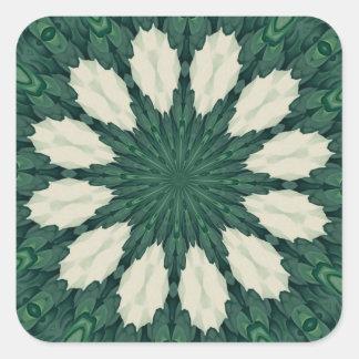 Tropical Sacramento Green and Silver Leaf Mandala. Square Sticker