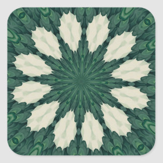 Tropical Sacramento Green and Silver Leaf Mandala. Square Sticker