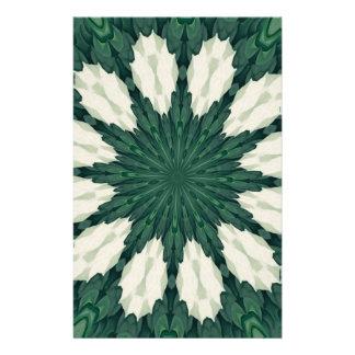 Tropical Sacramento Green and Silver Leaf Mandala. Stationery