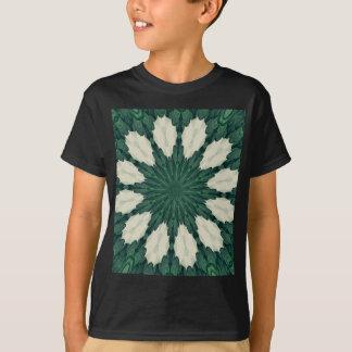 Tropical Sacramento Green and Silver Leaf Mandala. T-Shirt