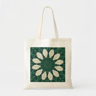 Tropical Sacramento Green and Silver Leaf Mandala. Tote Bag