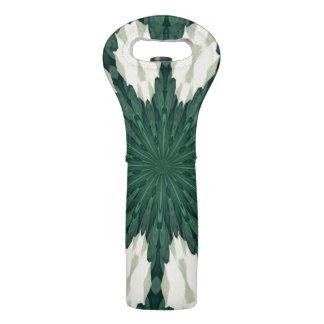 Tropical Sacramento Green and Silver Leaf Mandala. Wine Bag