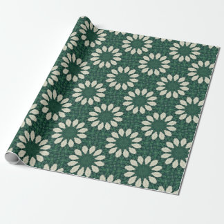 Tropical Sacramento Green and Silver Leaf Mandala. Wrapping Paper