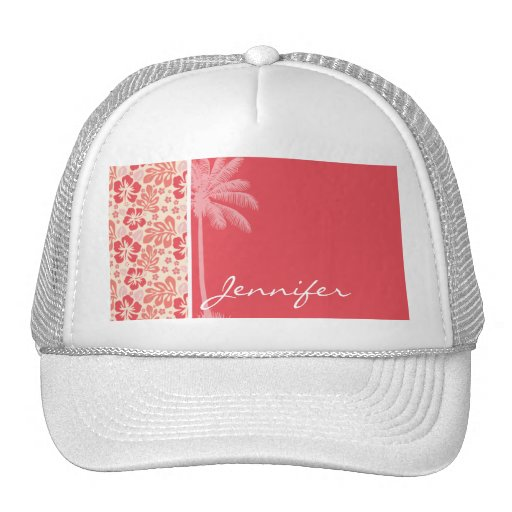Tropical Salmon & Coral Pink Floral Pattern Mesh Hats