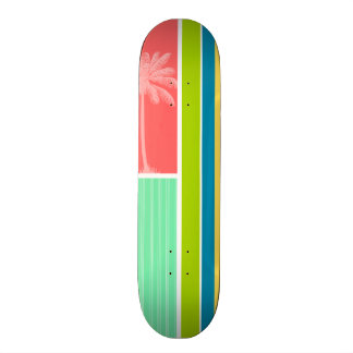 Tropical Salmon Pink Seafoam Green Skateboard