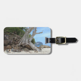 Tropical sandy beach luggage tag