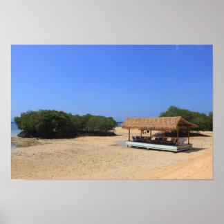 Tropical sandy beach poster