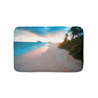 Tropical Sandy Beach Sunset Bath Mat