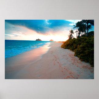 Tropical Sandy Beach Sunset Poster