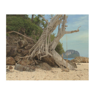Tropical sandy beach wood wall decor