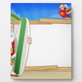 Tropical Santa Beach Background Plaque
