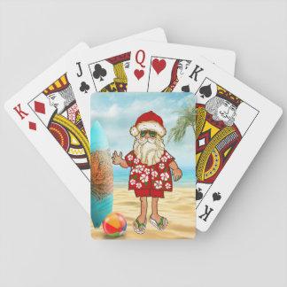Tropical Santa Beach Playing Cards