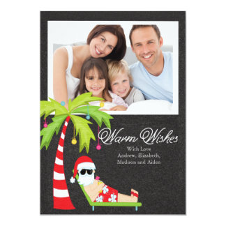 Tropical Santa Christmas Holiday Family Photo Card