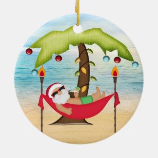 Tropical Santa Christmas Ornament