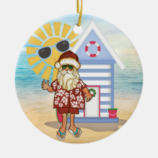 Tropical Santa Christmas Ornament with Surf Board