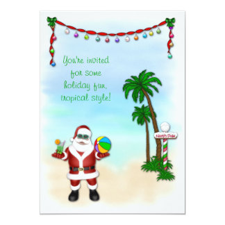 Tropical Santa Holiday Invitation