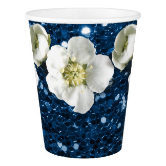 Tropical Sapphire Navy Glitter Flower White Jasmin Paper Cup