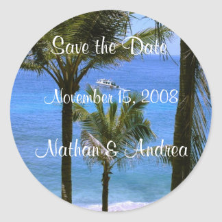 Tropical Save the Date Classic Round Sticker