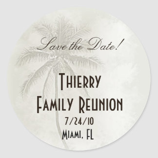 Tropical Save the Date Family Reunion Round Sticker