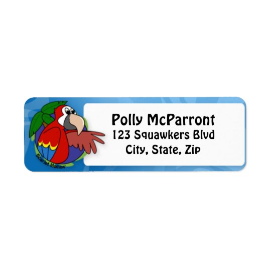 Tropical Scarlet Macaw Return Address Label