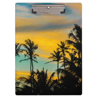 Tropical Scene at Sunset Time Clipboards