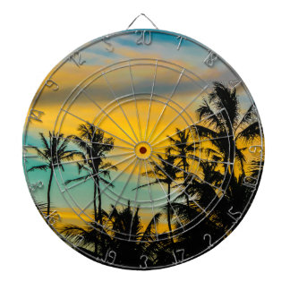 Tropical Scene at Sunset Time Dartboards