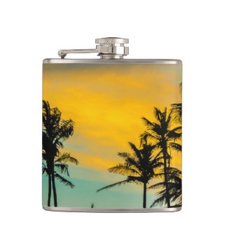 Tropical Scene at Sunset Time Hip Flask