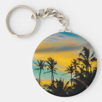 Tropical Scene at Sunset Time Key Ring