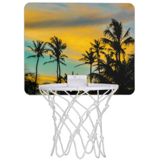 Tropical Scene at Sunset Time Mini Basketball Hoop