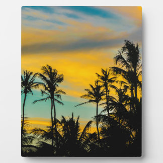 Tropical Scene at Sunset Time Plaque