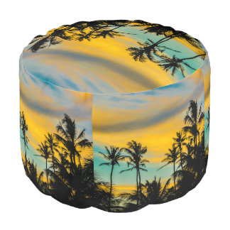 Tropical Scene at Sunset Time Pouf