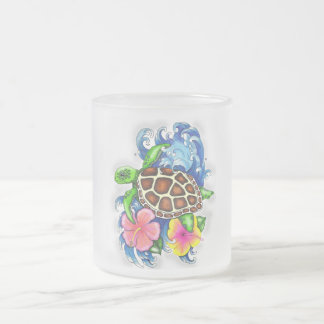 Tropical Sea Turtles Frosted Glass Coffee Mug