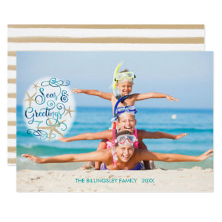 """Tropical """"Seas AND Greetings"""" Turquoise Script Card"""