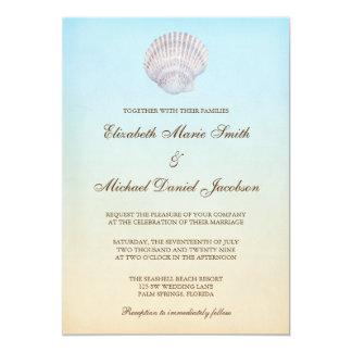 Tropical Seashell Beach Wedding Card